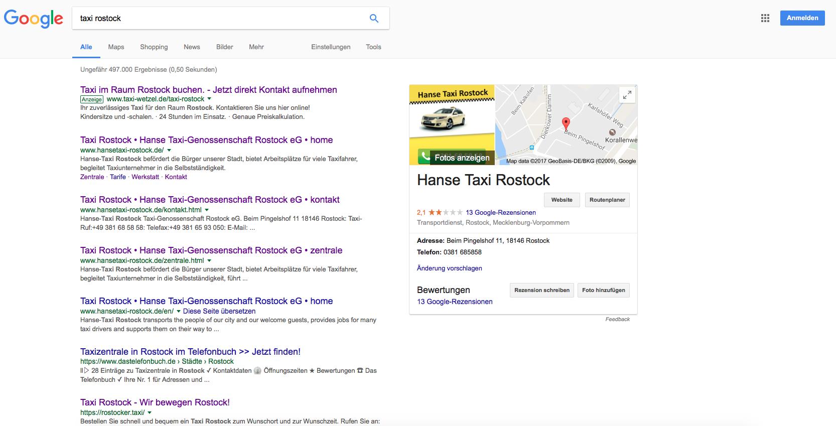 "Keyword ""Taxi Rostock"""