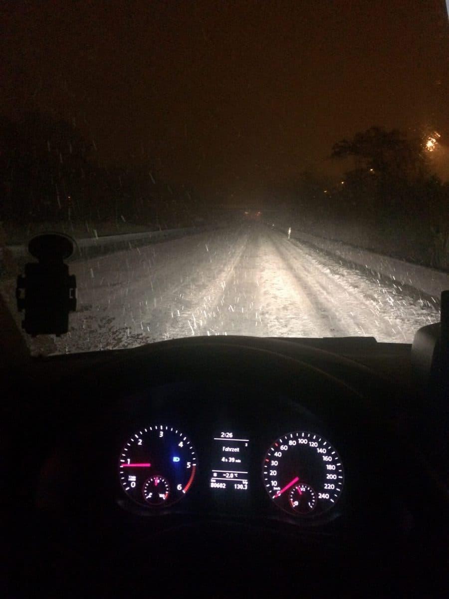 Taxi Rostock Stadtautobahn im Schnee Bild 1